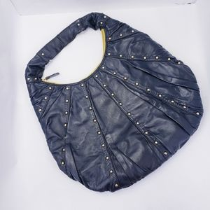 GoldenBleu Leather Studded Hobo Bag Large